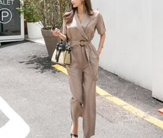 Summer Jumpsuit New Ladies Solid Color Ol New Fashion Slim Casual Loose Pants V Neck Casual Comfortable Wild Mature Jumpsuit