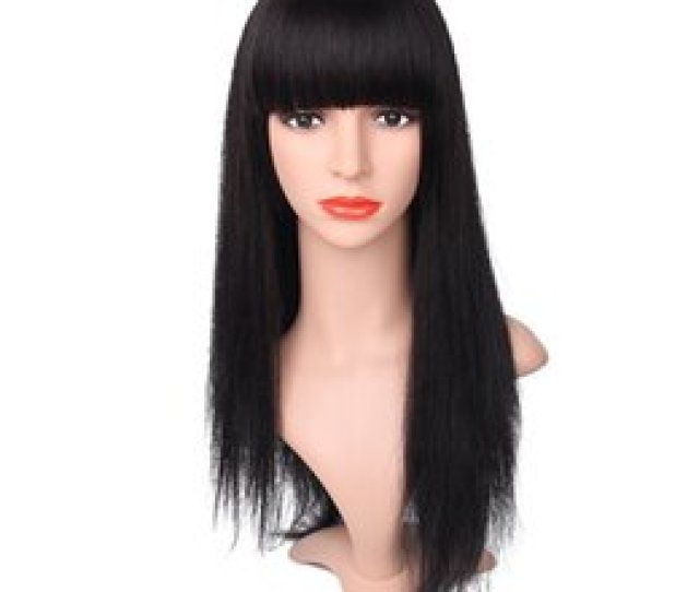 Hot Selling Bangs Aaaaa 100 Unprocessed Virgin Human Hair Long Natural Color Silk Straight Full Lace Silk Top Wig For Women