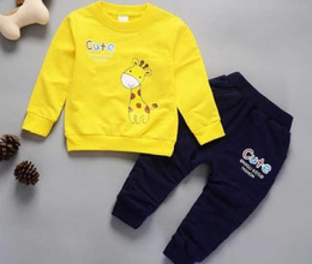 Discount Toddler Clothes T Spring Autumn Children Boys Girls Cartoon Giraffe Clothes Baby Pure Cotton