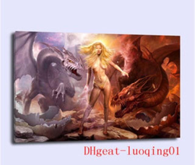 Fantasy Hd Painting  Fantasy Female Dragon Canvas Pieces Home Decor Hd Printed Modern