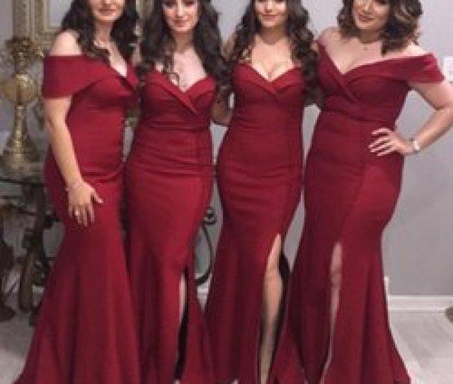 Melon Tube Australia 2019 New Style Plus Size Bridesmaid Dresses Burgundy Satin Portrait Off Shoulder