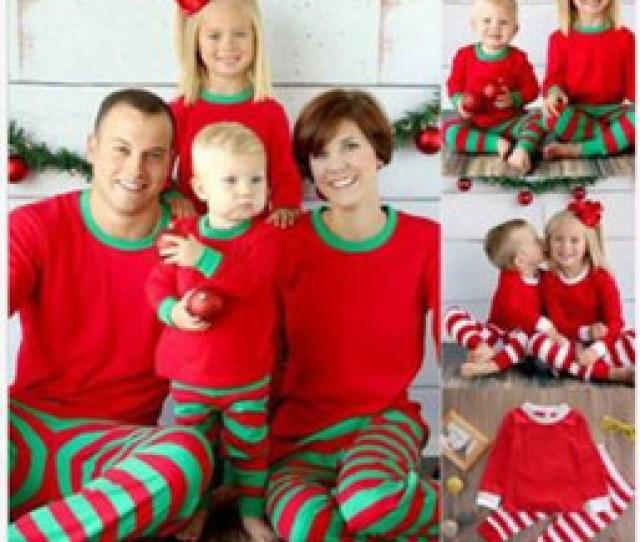 Autumn Warm Fall Winter Xmas Printed Striped Christmas Family Kids Women Red Green Sleepwear Pajamas Set Striped Cotton Pyjamas