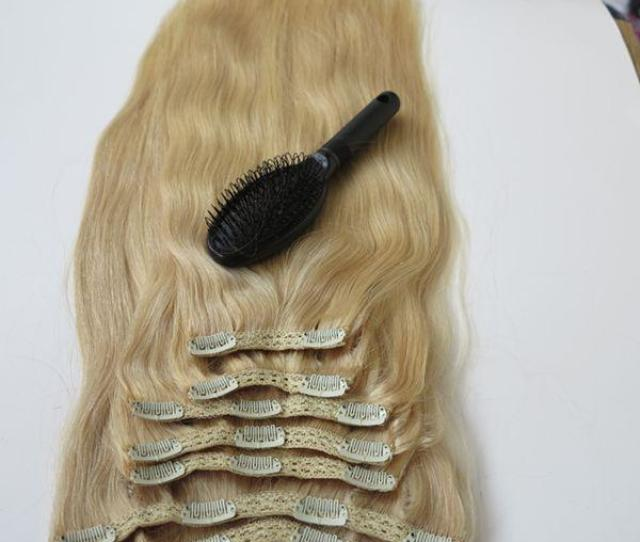 260g 20 22inch Clip In Human Hair Extensions Brazilian Hair 60 Platinum Blonde Remy Straight Hair Weaves 7pcs Set Free Comb