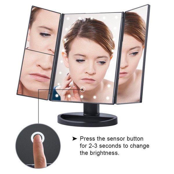 easehold tri fold led lighted touch screen stand vanity makeup mirror hollywood 22 led fold