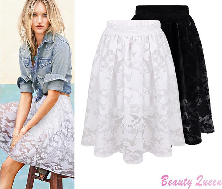 2019 Wholesale Woman Summer Skirts Womens 2015 Fashion White Black Lace Wild High Waist Midi Skirt Casual Pleated Adult Tutu Skirt Women Y304 From Jilihua