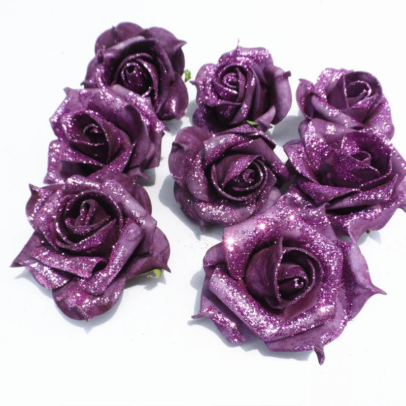 2018 Wholesale Glitter Foam Pe Artificial Flowers Rose Head Real     2018 Wholesale Glitter Foam Pe Artificial Flowers Rose Head Real Touch Home  Wedding Party Decoration Artifical Flores Diy Kissing Ball A103 From  May512