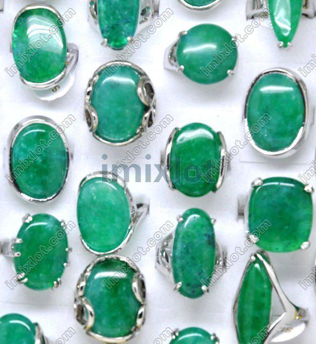 2018 Ring Jewelry Fashion Jewelry 50X Jade Stone Gem Alloy