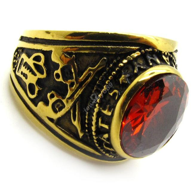 Whosale Price Red Cz Ruby WomenS MenS Ring Royal Gold