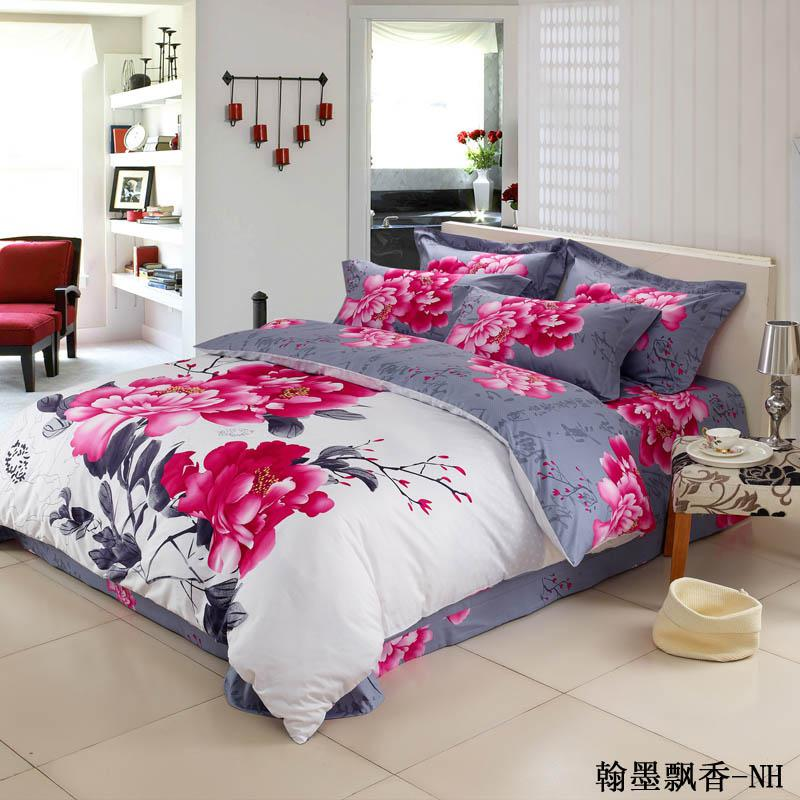 Newest Arrival Pink Floral Chinese Bedding Set For Full