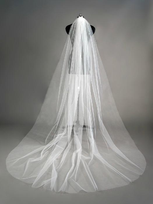 One Layer White Ivory Tulle Long Veils With Hair Comb