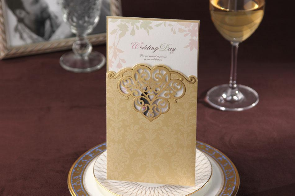 CW2002 Gold Hollow Out Invitation Card Wedding Invitations