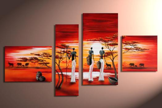 Modern Afrian Life Group Oil Painting Home Decorative Flower Paintings Landscape Handmade