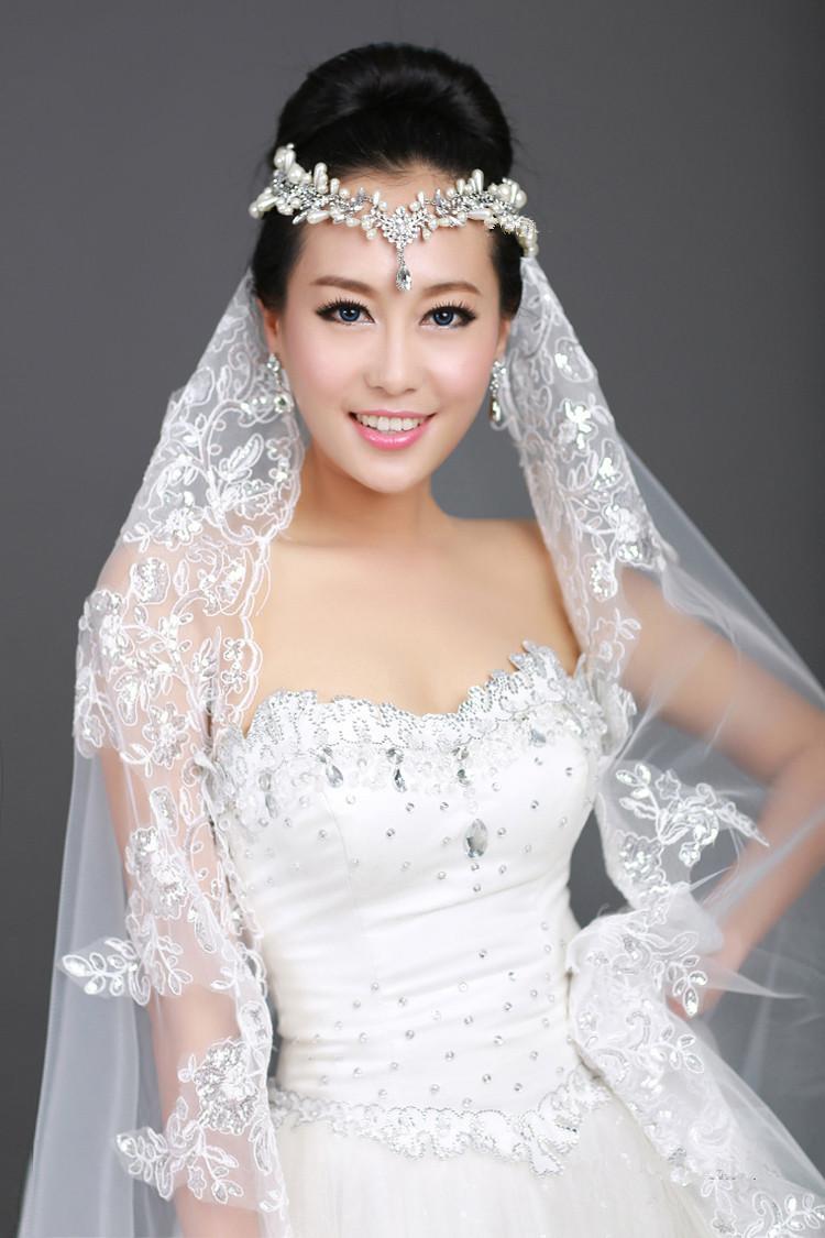 New 1T Ivory Ribbon Lace Bridal Veil Rhinestone Frontlet