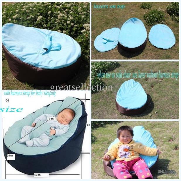 2018 Hot Baby Bean Bag Snuggle Bed Kids Sofa Chair Cover Two Top