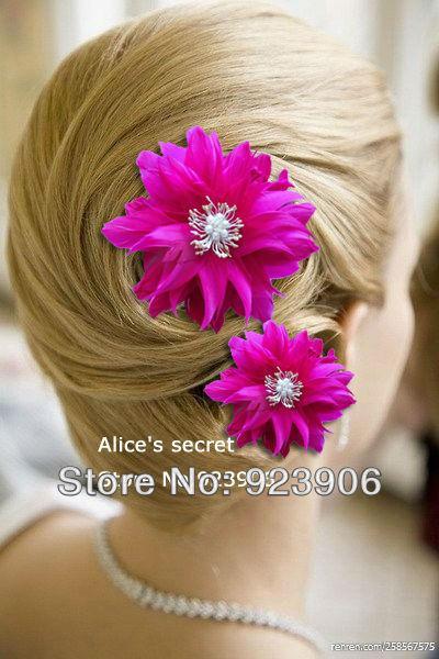 hot pink flower feather bridal hair accessories feather hair piece wedding facinator hair clip diy feather hair extensions rooster feather hair