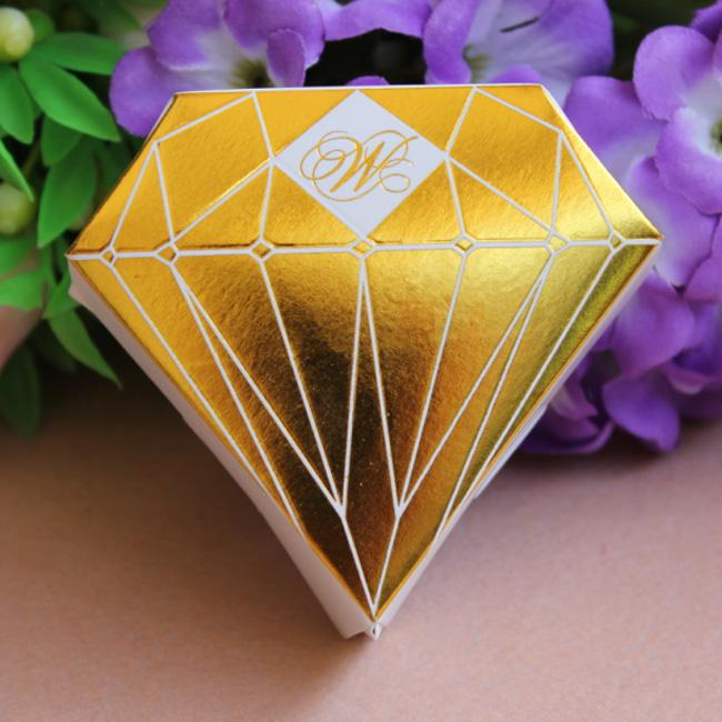 Gold Diamond Shaped Candy Box Gift Jewelry Diy Paper Boxes