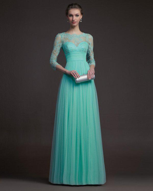 2015 Elegant Lace Modest Evening Dresses With Long 34 Sleeve Length Prom Dresses Full Length