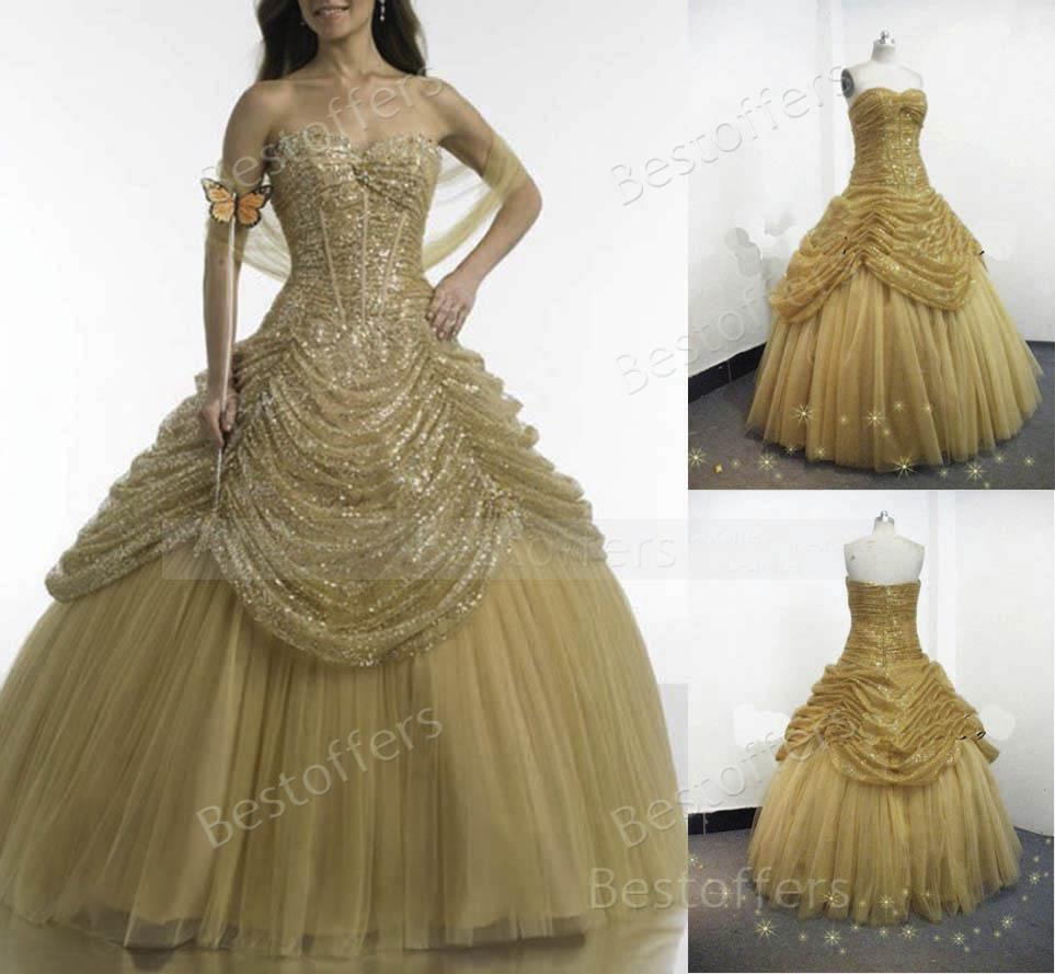 Gold Quinceanera Dresses With Sequins Bodice And Pick Up