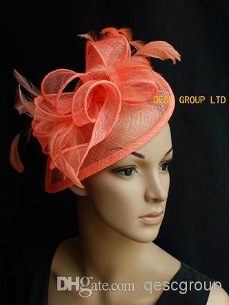 Coral Orange Pink Headband Sinamay Feather Fascinator Hat