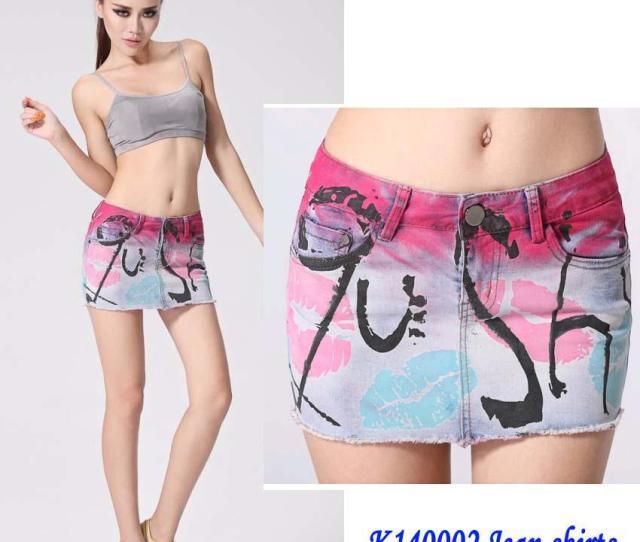 2019 Fashion Girls Sexy Printing Mini Above Knee Skirts Girl Washing Zipped Denim Jupe Women Printing Jean Skirts Girl Top Quality From Elly8fashion_zs