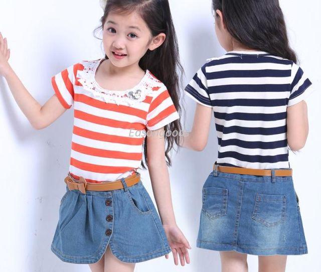 Hot Sell Kids Clothing Pre Teen Big Girls Skirt Denim Stitching New Korean Summer Dress Height  Cm From Easongoods   Dhgate Com