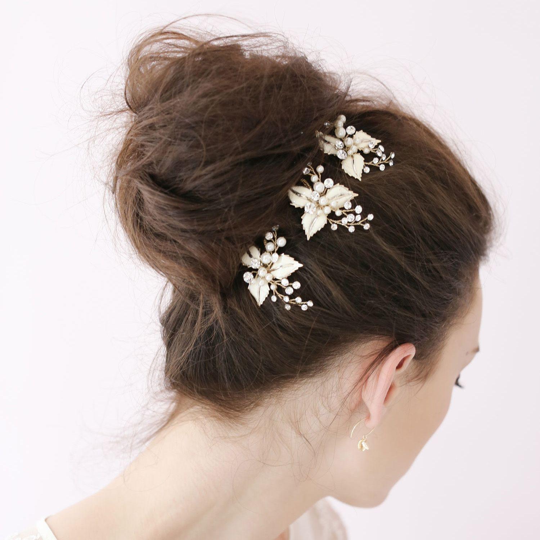 Petite Enamel Leaf Tiaras Bobby Pin Bridal Hair
