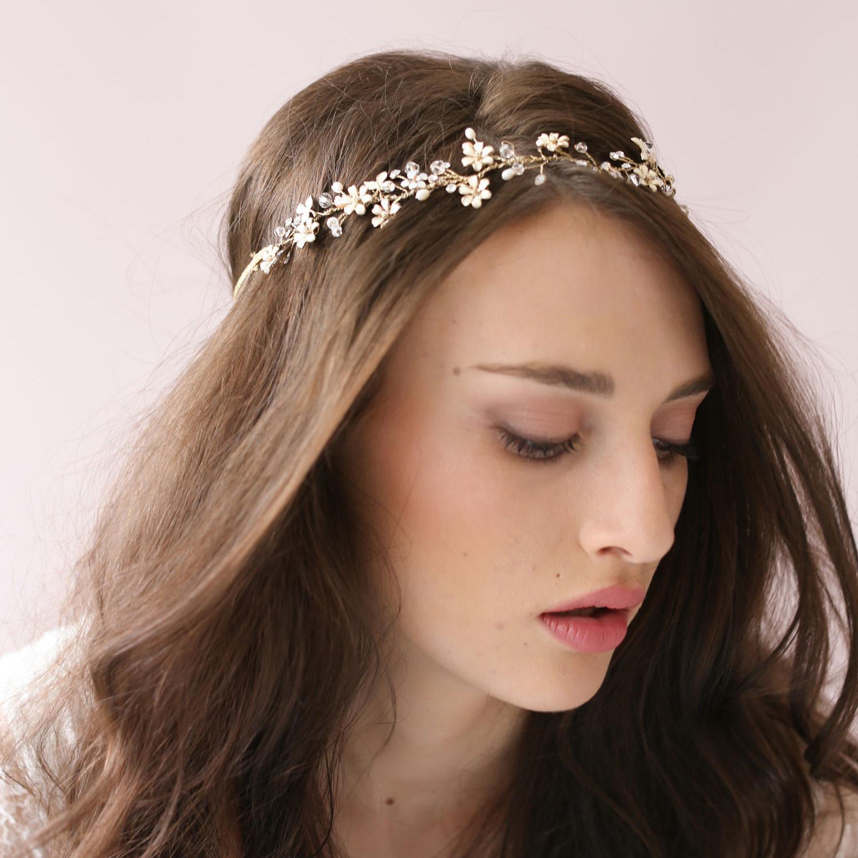 tiny enamel blossom crystal hair vine bridal hairband acessories wedding headbands hair accessories headbands headpieces for weddings