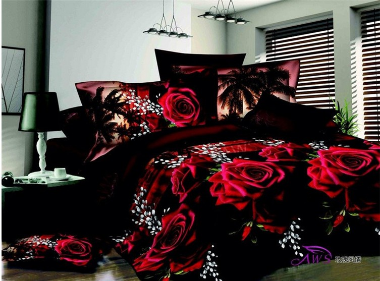 3d Black And Red Rose Bedding Set Quilt Duvet Cover Bed
