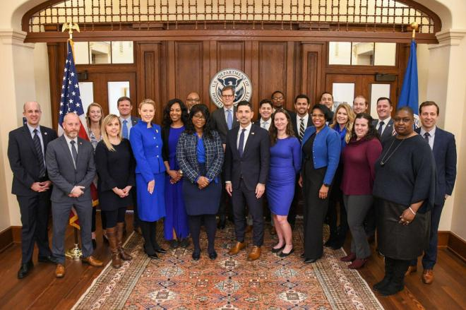 Acting Secretary Chad F. Wolf pictured with staff representing the DHS Blue Campaign and the Office of Public Engagement.