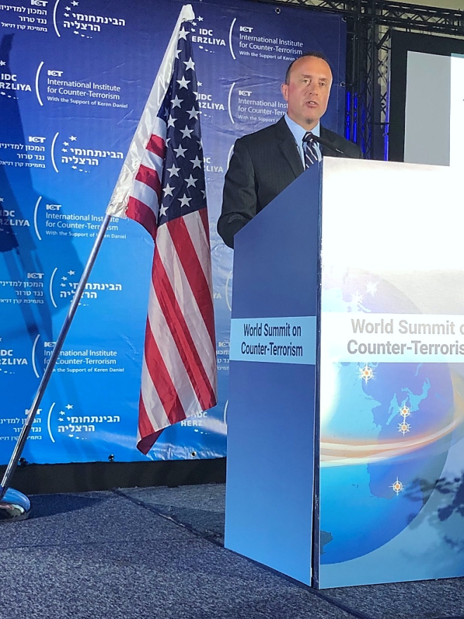 Under Secretary for Intelligence and Analysis (I&A) and Chief Intelligence Officer David J. Glawe traveled to Herzliya, Israel this week to provide keynote remarks at the International Institute for Counter-Terrorism's (ICT's) 2019 World Summit on Counter-Terrorism.