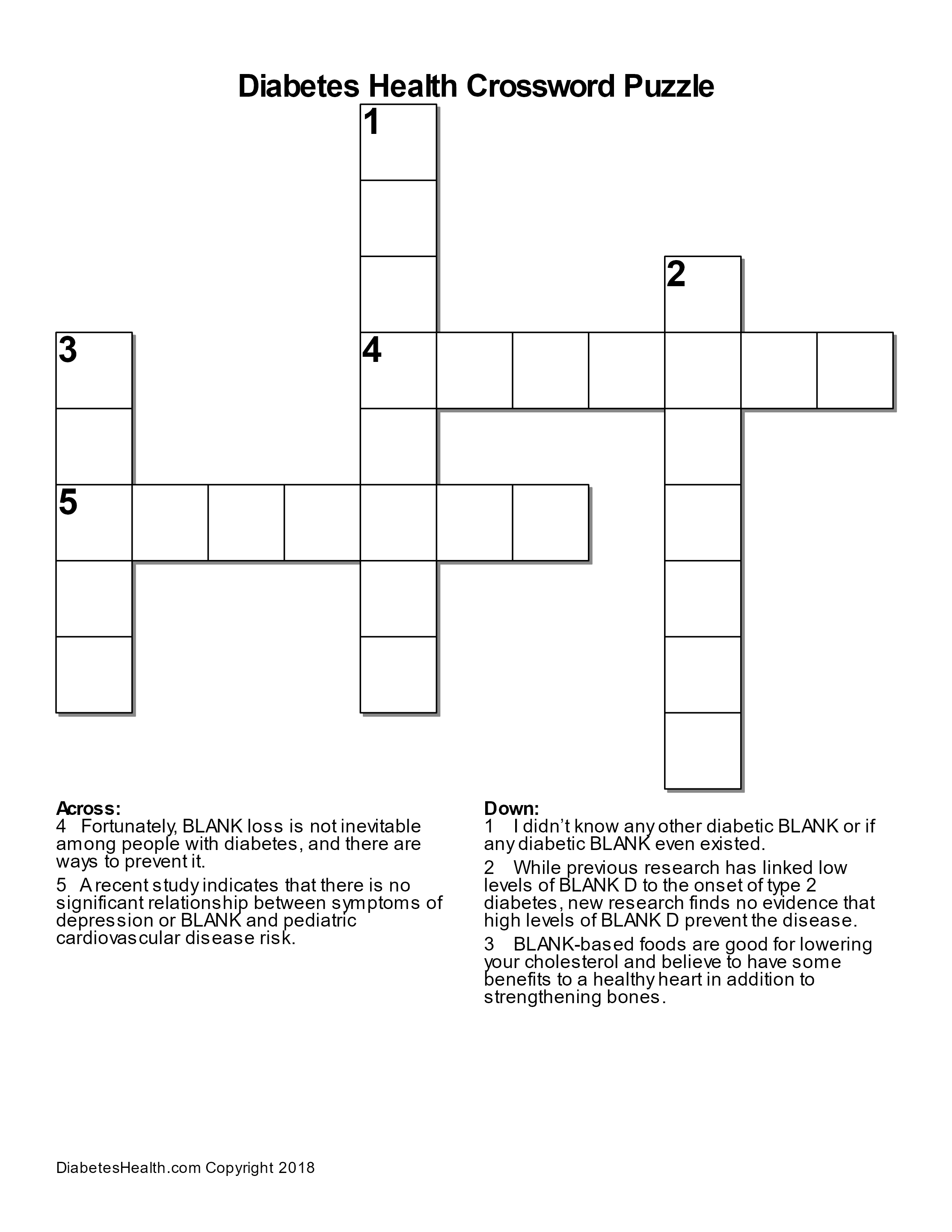 Diabetes Health Crossword Puzzle Diabetes Health