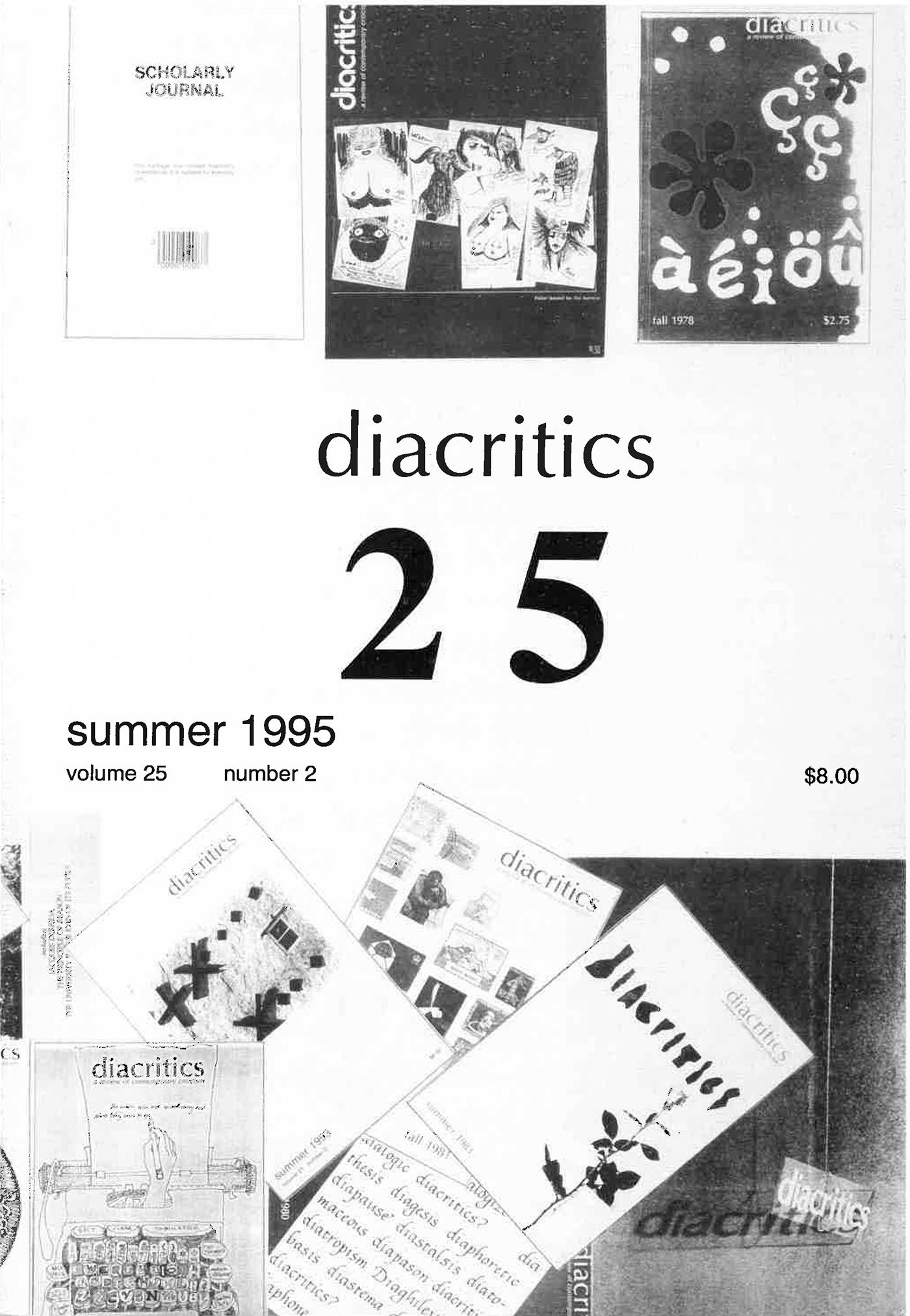 DIACRITICS VOLUME 25 NUMBER 2 1995
