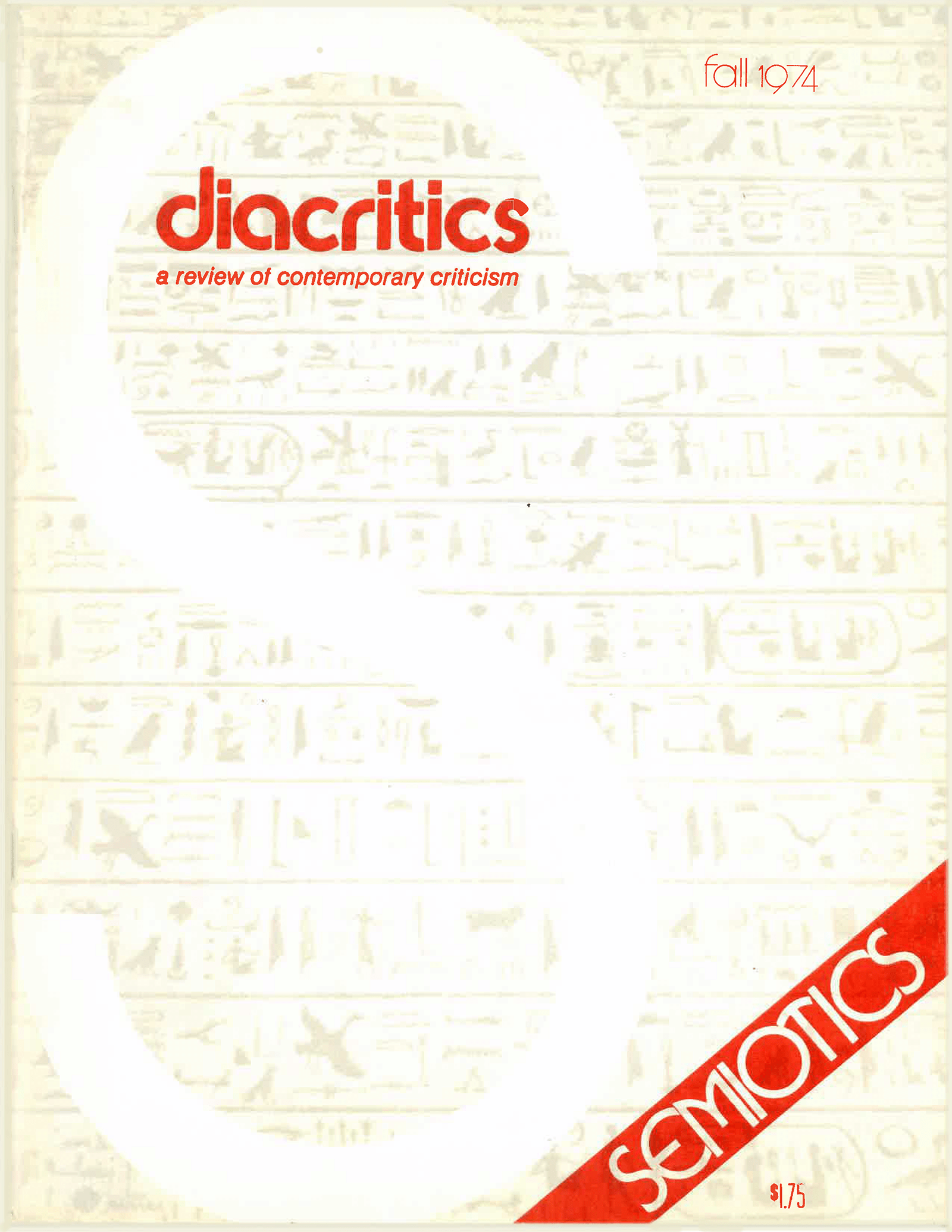 DIACRITICS VOLUME 4 NUMBER 3 1974