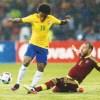 Willian marcou um dos gols da vitória brasileira sobre a Venezuela em Mérida . Foto: Lucas Figureiredo/CBF