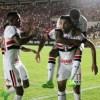 Gilberto comemora o gol da classificação do São Paulo no Estádio Castelão. Foto: Honório Moreira/Futura Press/Folhapress
