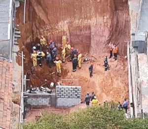 Jovem morreu soterrado após deslizamento no fundo do terreno. Foto: Reprodução SPTV