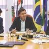"""Serra, Morando, Auricchio e Roncon, durante coletiva no Consórcio:  """"O ABC continuará competitivo"""". Foto: Divulgação/Consórcio"""