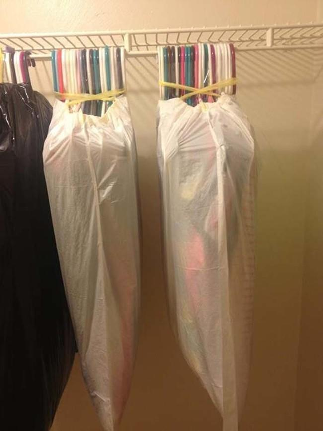 When you're moving, put garbage bags over hung clothes to keep them clean.