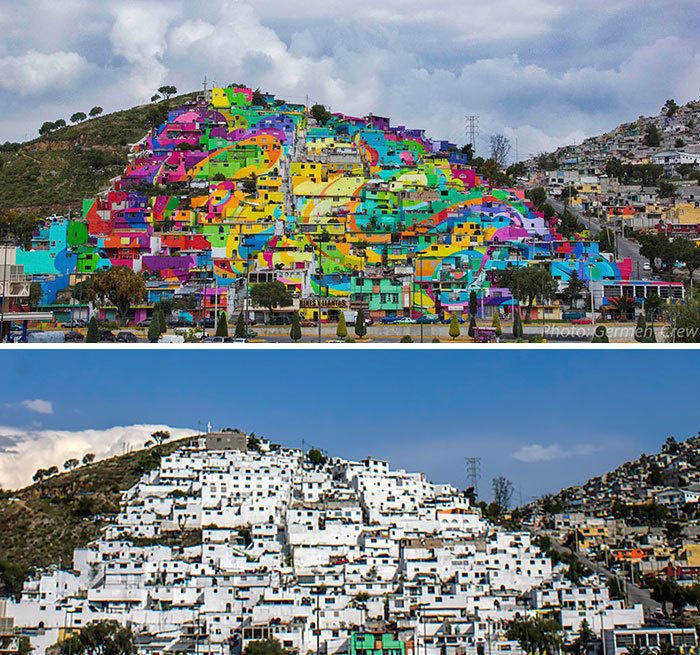 The Whole Town Gets Repainted In Vibrant Graffiti, Palmitas, Mexico