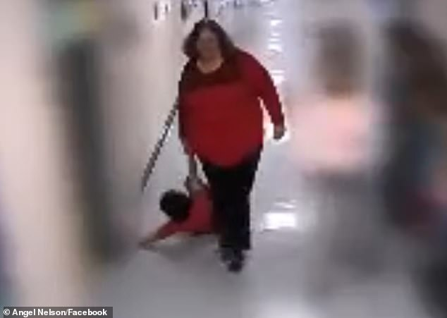 The resource teacher, identified as Trina Abrams, was was fired after she was caught on camera dragging the autistic boy at Wurtland Elementary school in Kentucky back in October