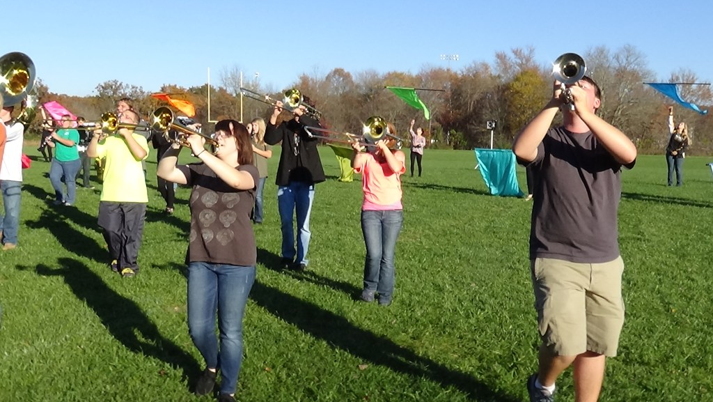"""CROSSVILLE, TENN. (Oct. 30, 2014) Stone Memorial High School band members practice their finale of """"Wake Me Up"""" for the last 2014 football game. (Photo by Diahan Krahulek / Full Sail University)"""