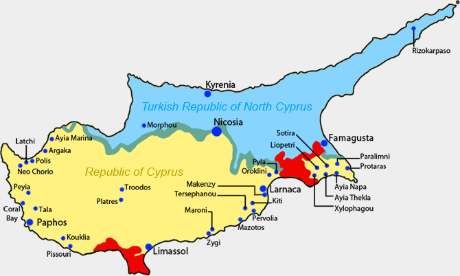 Image result for εισβολη στην Κυπρο χάρτης