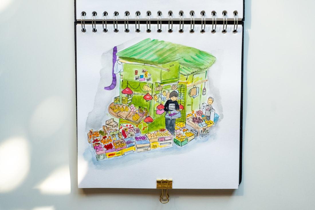 Hong Kong fruit stall doodles sketchbook