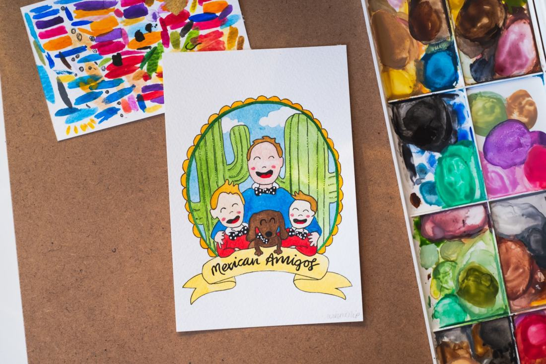 postcard portrait with paintbox showing happy kids illustration