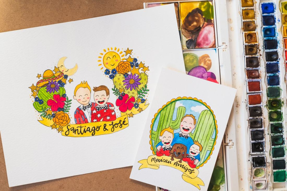 Happy kids illustration - Portrait of Santiago and Jose and postcard portrait with watercolours