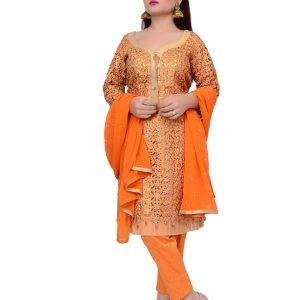 Orange Shalwar Kameez with Dupatta