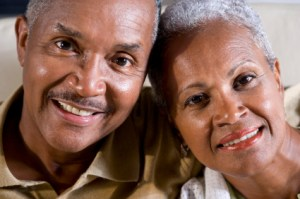 Faces of happy mature African American couple