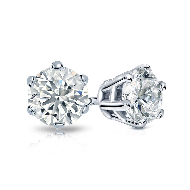 6 Prong Basket Diamond Stud Earrings In 14k White Gold
