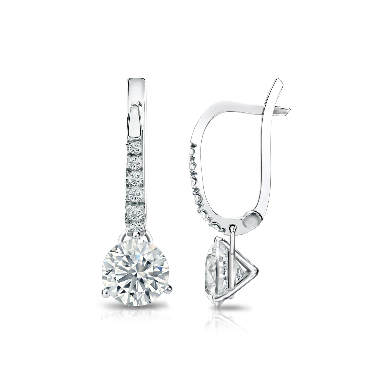 Dangle 3 Prong Martini Diamond Earrings In 14k White Gold