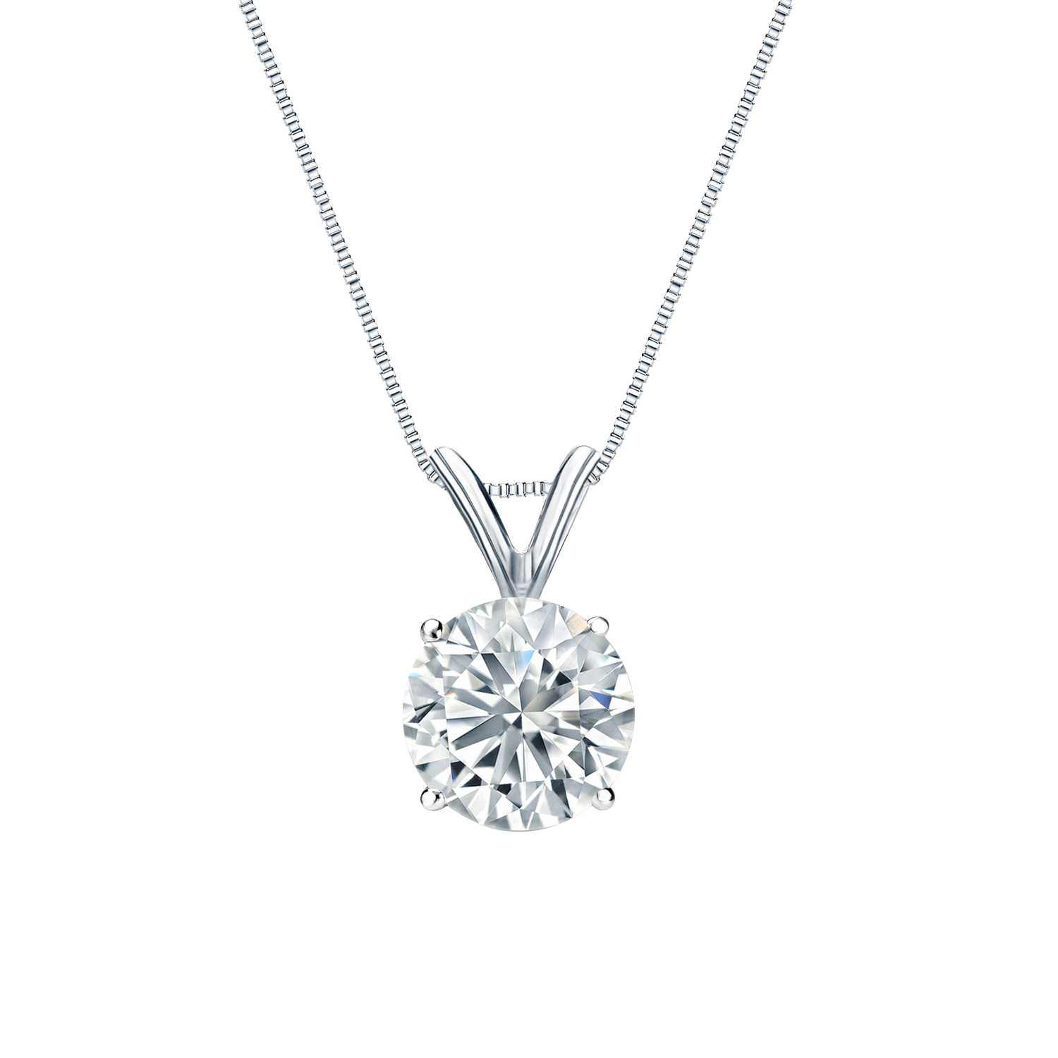 4 Prong Basket Diamond Solitaire Pendant In 14k White Gold